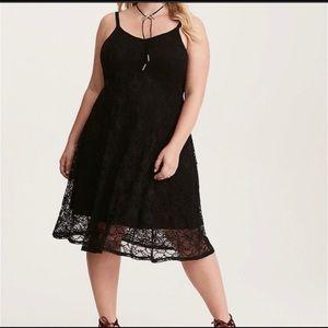 Torrid stretch black lace midi slip dress